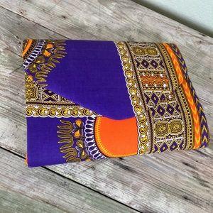 Malawi African wax fabric large padded clutch bag